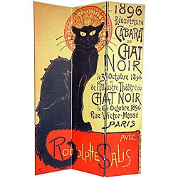 Canvas Double-sided 6-foot Chat Noir Room Divider (China)