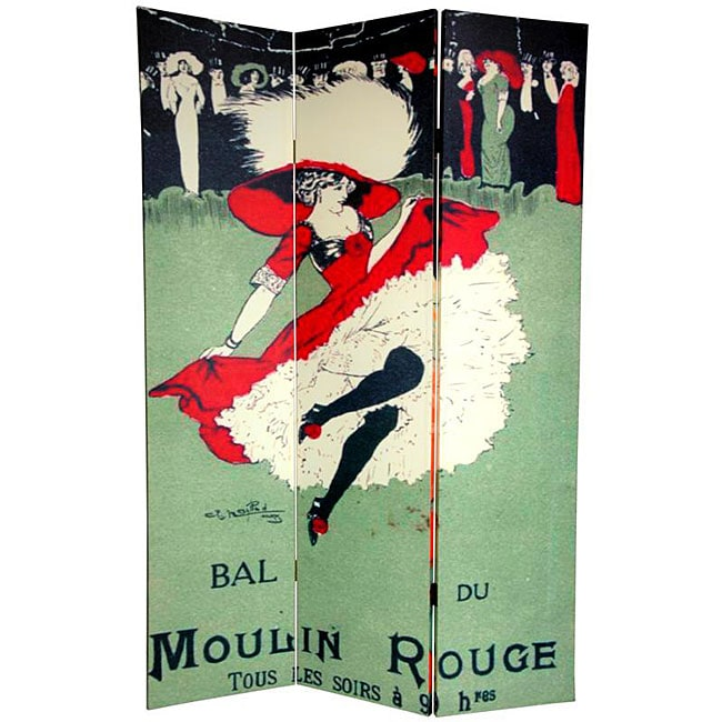 Double-sided 6-foot Moulin Rouge Canvas Room Divider (China)