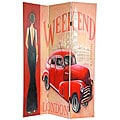 Canvas 6-foot Vintage Weekend and London Room Divider (China)