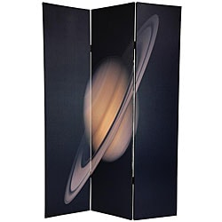 Double-sided 6-foot Moon and Saturn Canvas Room Divider (China)