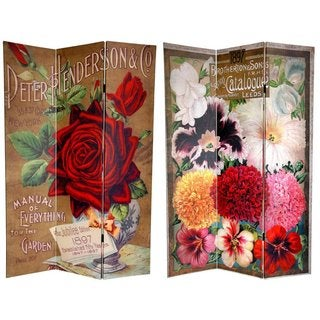 Canvas Double-sided 6-foot Rose Flower Seeds Room Divider (China)