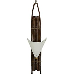 Japanese-style 40-inch Dark Baku Bamboo Wall Sconce (China)