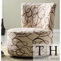 TRIBECCA HOME Moda Chocolate Swirl Print Round Swivel Chair