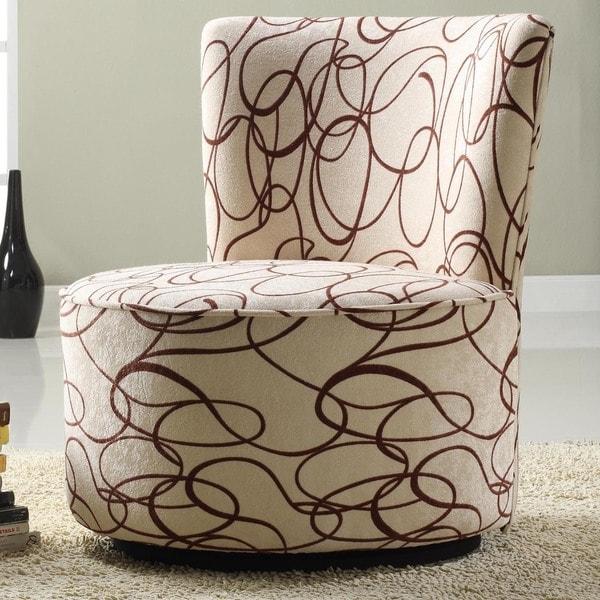 TRIBECCA HOME Moda Chocolate Swirl Print Round Swivel Chair