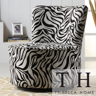 TRIBECCA HOME Moda Black White Zebra Print Modern Round Swivel Chair