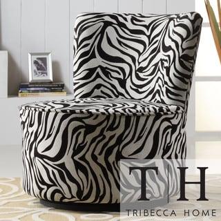 TRIBECCA HOME Moda Black White Zebra Print Modern Round Swivel