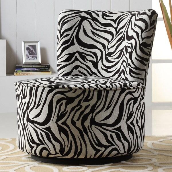 TRIBECCA HOME Moda Black White Zebra Print Modern Round Swivel Chair