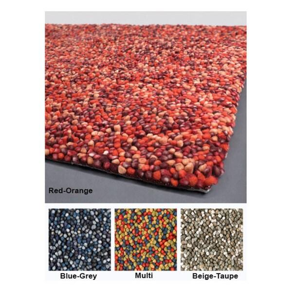Hand-woven Mandara New Zealand Wool Shag Rug (5' x 7'6)