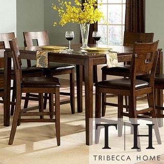 Tribecca Home Watson Warm Brown Contemporary Counter Height Table
