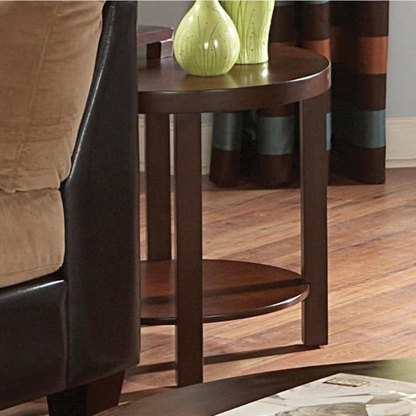 TRIBECCA HOME Baxter Warm Cherry Brown Casual End Tab
