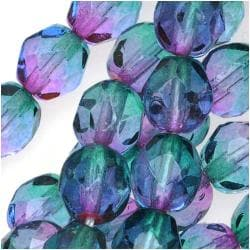 Beadaholique Czech Glass Fire-polished Two-tone Purple and Green Beads (Set of 50)