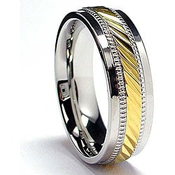 Oliveti Stainless Steel and Goldplated Crystal-cut Band (7.5 mm)