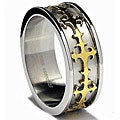 Oliveti Stainless Steel and Goldplated Cross Inlay Band (8 mm)