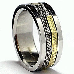Oliveti Tri-color Stainless Steel Greek Key Spinner Band (8 mm)