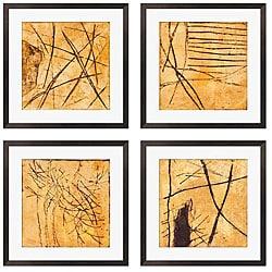 Caroline Ashton 'Golden Series I-IV' Giclee Framed Prints (Set of 4)