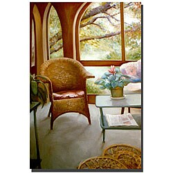 Michelle Calkins 'Wicker Chair and Cyclamen' Canvas Art