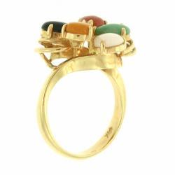 Mason Kay Natural Multicolor Jadeite Cabochon Ring