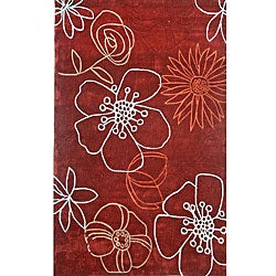 nuLOOM Hand-tufted Pino Collection Floral Red Rug (7'6 x 9'6)
