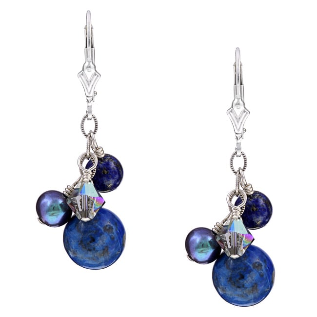 Charming Life Sterling Silver Blue Lapis and Pearl Earrings (6 mm)