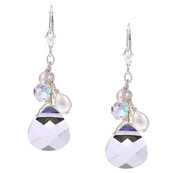 Charming Life Sterling Silver Crystal Briolette and Pearl Earrings (6 mm)
