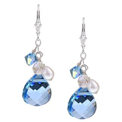 Charming Life Silver Aqua Blue Crystal and Pearl Earrings (6 mm)
