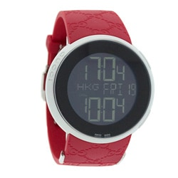 Gucci Men's Stainless Steel Case Red Rubber Strap Digital Watch