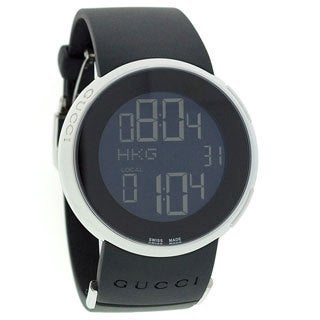 Gucci Women's Stainless Steel Case Black Rubber Strap Digital Watch