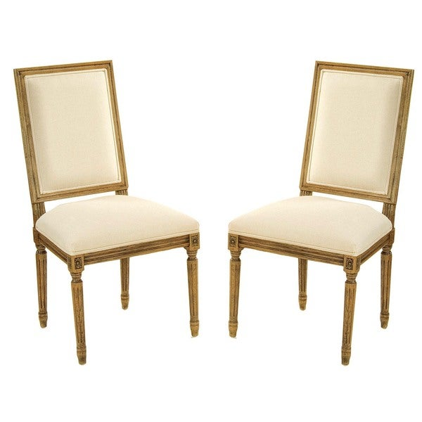 Safavieh Old World Dining Antiqued Oak Cream Side Chairs (Set of 2)