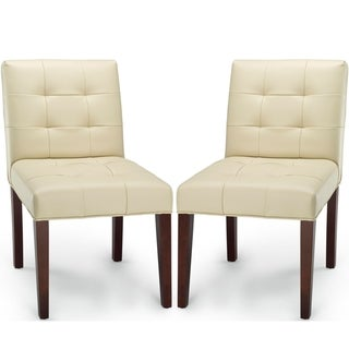 Safavieh Chic Creme Leather Side Chairs (Set of 2)