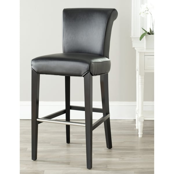 Safavieh Manhattan Black Leather Bar Stool