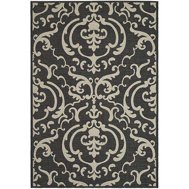 Safavieh Indoor/ Outdoor Bimini Black/ Sand Rug (9' x 12')