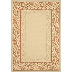 Indoor/ Outdoor Tranquil Natural/ Terracotta Rug (7'10 x 11')