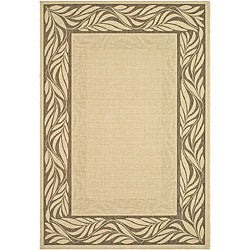 Indoor/ Outdoor Tranquil Natural/ Brown Rug (6'7 x 9'6)