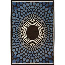 Hand-Tufted Blue Geometric Mandara Wool Rug (5' x 7'6)