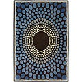 Hand-Tufted Blue Geometric Mandara Wool Rug (5' x 7'6)