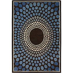 Hand-tufted Mandara Brown Rectangular Statement Wool Rug (9' x 13')