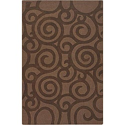 Hand-tufted Mandara Brown Wool Rug (7' x 10')