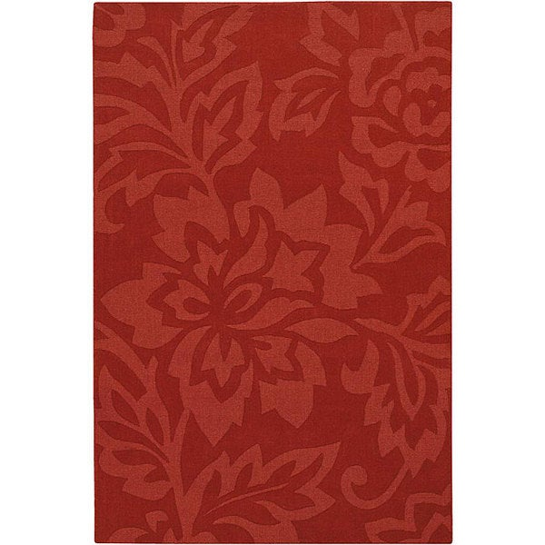 Hand-Tuffed Madara Red Wool Area Rug (5'x7')