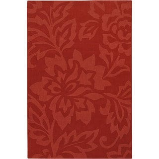 Hand-tufted Mandara Red Wool Rug (7' x 10')