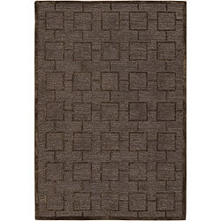 Hand-Tufted Mandara Brown Small-Square-Pattern New Zealand Wool Rug (7'9 x 10'6)