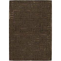 Hand-tufted Mandara Brown New Zealand Wool Rug (7'9 x 10'6)