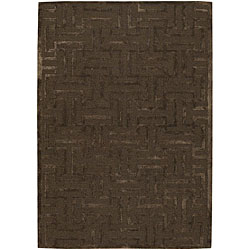 Hand-tufted Mandara Brown New Zealand Wool Rug (7'9 Round)