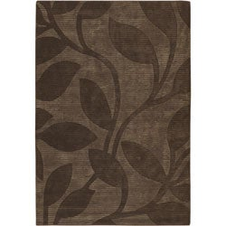 Hand-tufted Mandara Brown Floral New Zealand Wool Area Rug (7'9 x 10'6)
