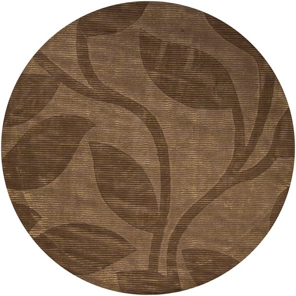 Hand-tufted Mandara Brown Floral New Zealand 100-percent Wool Rug (7'9 Round)