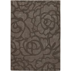 Hand-Tufted Contemporary Mandara Brown New Zealand Wool Rug (5' x 7'6)