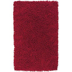Set of 2 Hand-knotted Mandara Red Cotton Shag Rugs (2