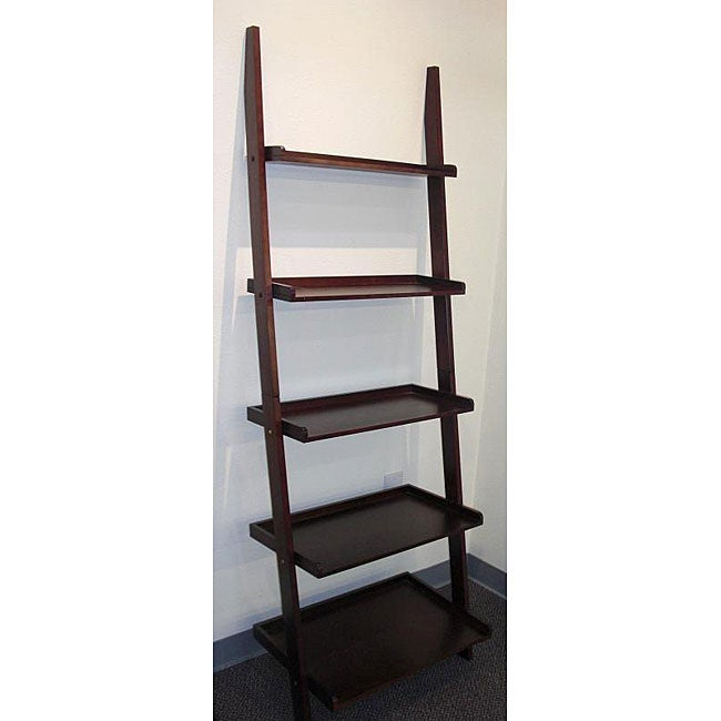 Cappuccino 5-tier Leaning Ladder Book Shelf