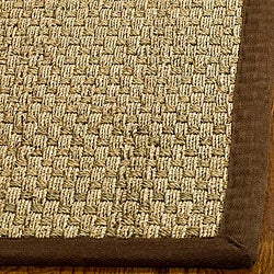 Hand-woven Sisal Natural/ Brown Seagrass Rug (6' Square)