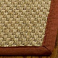 Safavieh Handwoven Sisal Natural/ Red Seagrass Runner Rug with Fringeless Border (2'6 x 14')
