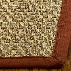 Hand-woven Sisal Natural/ Red Seagrass Rug (6' Square)